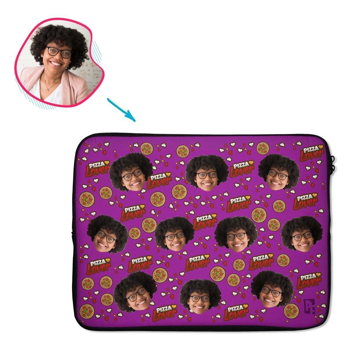 purple Pizza Lover laptop sleeve personalized with photo of face printed on them