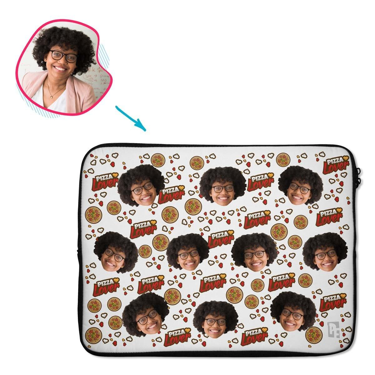 white Pizza Lover laptop sleeve personalized with photo of face printed on them