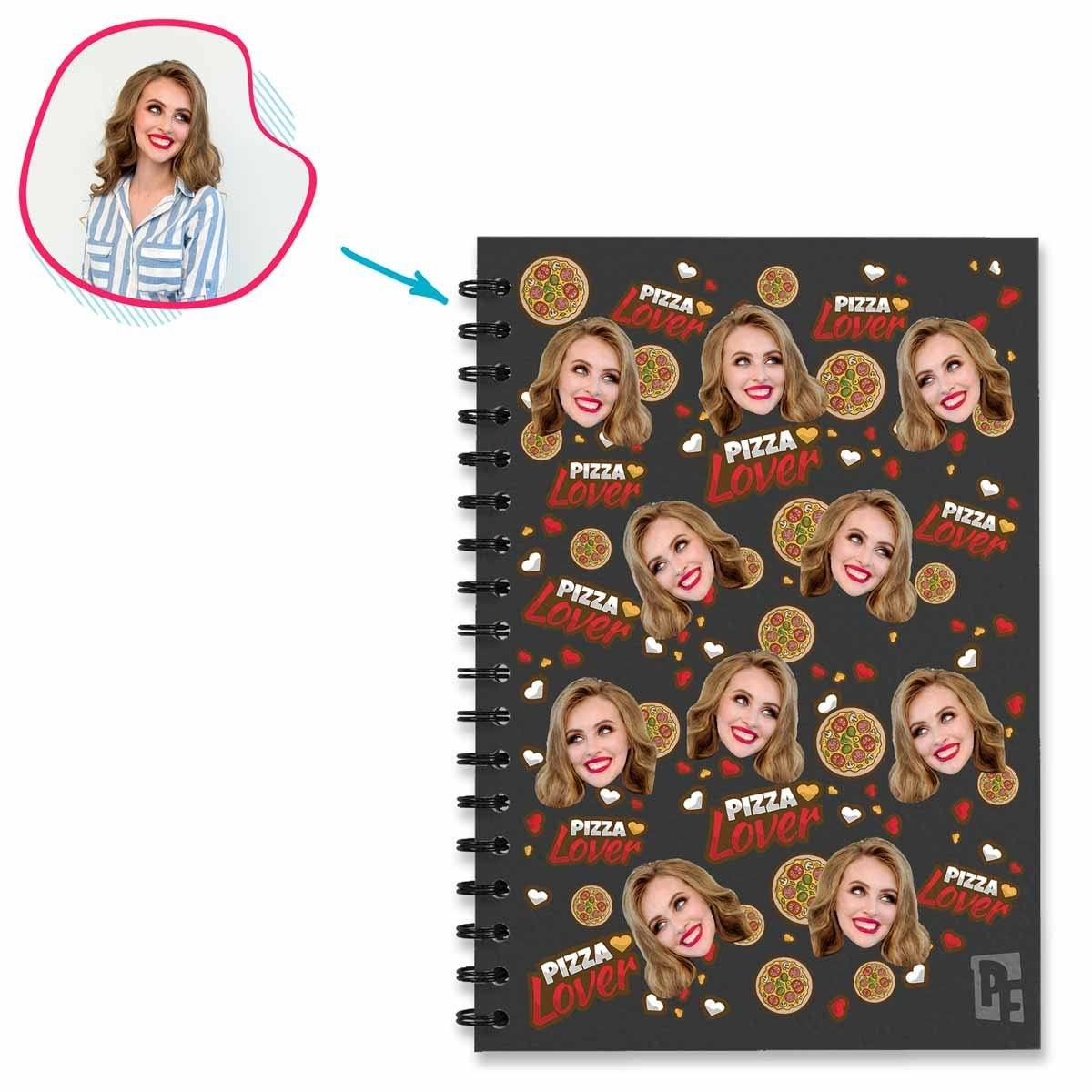 dark Pizza Lover Notebook personalized with photo of face printed on them