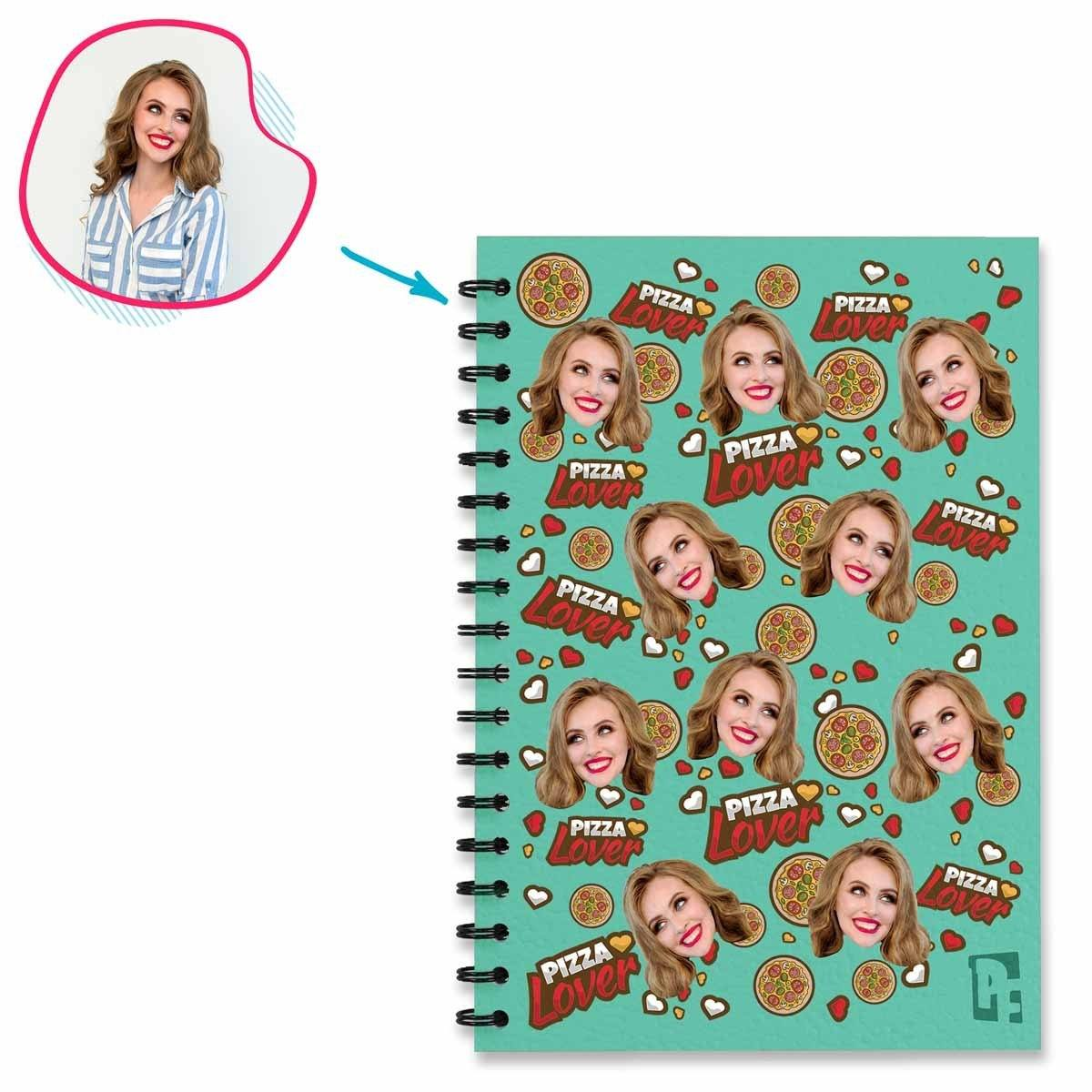 mint Pizza Lover Notebook personalized with photo of face printed on them