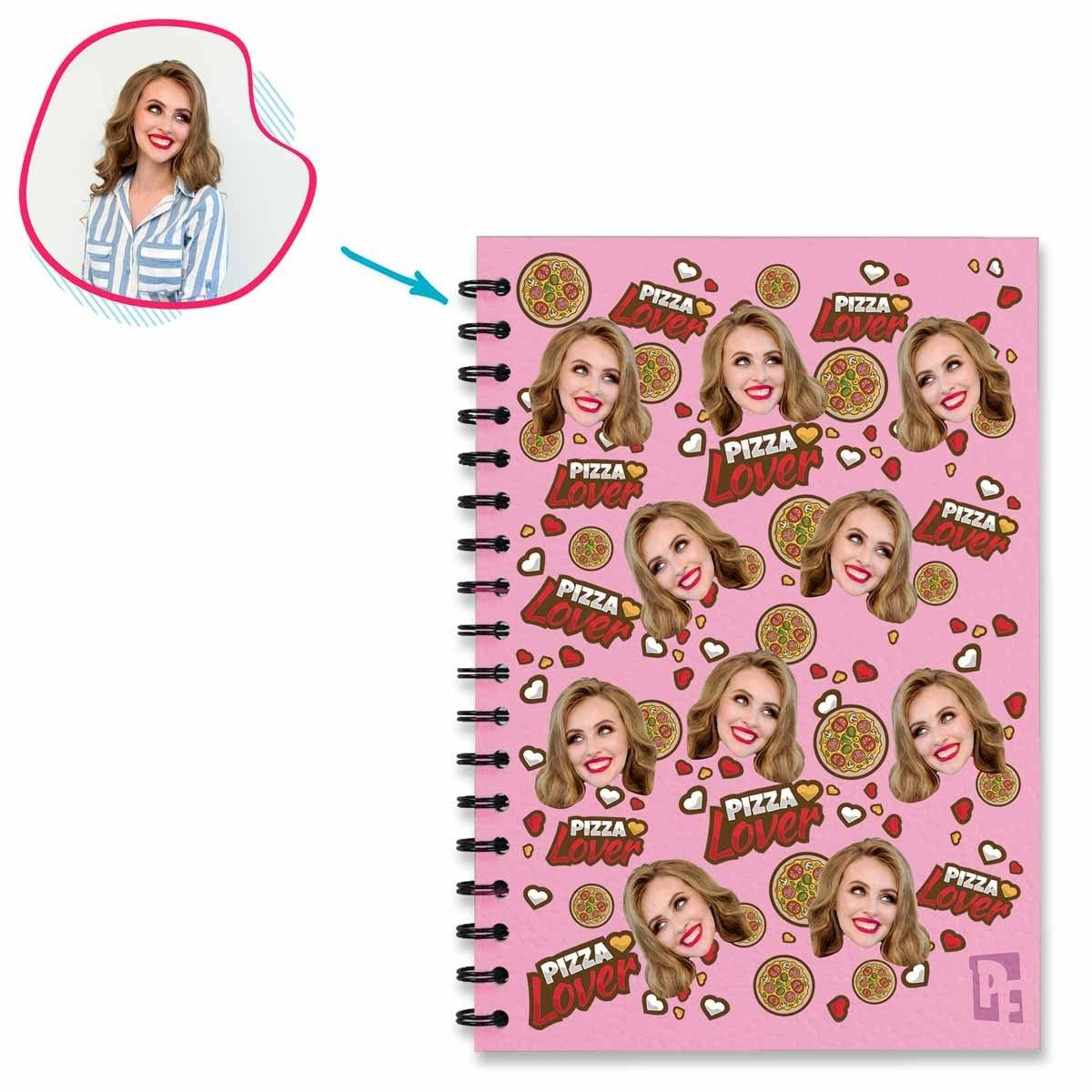 pink Pizza Lover Notebook personalized with photo of face printed on them