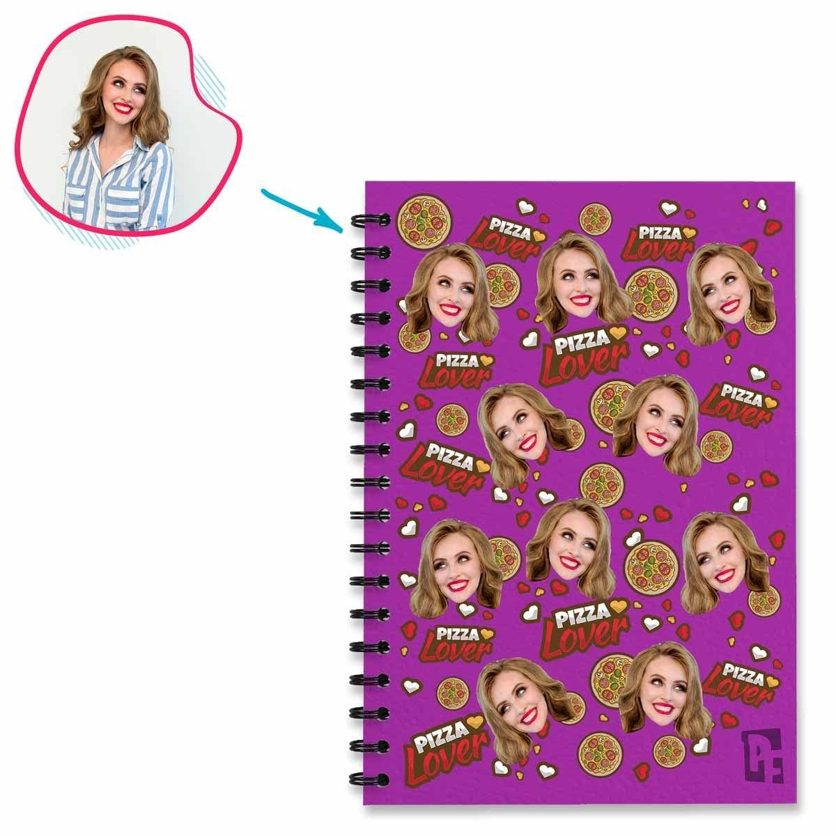 purple Pizza Lover Notebook personalized with photo of face printed on them