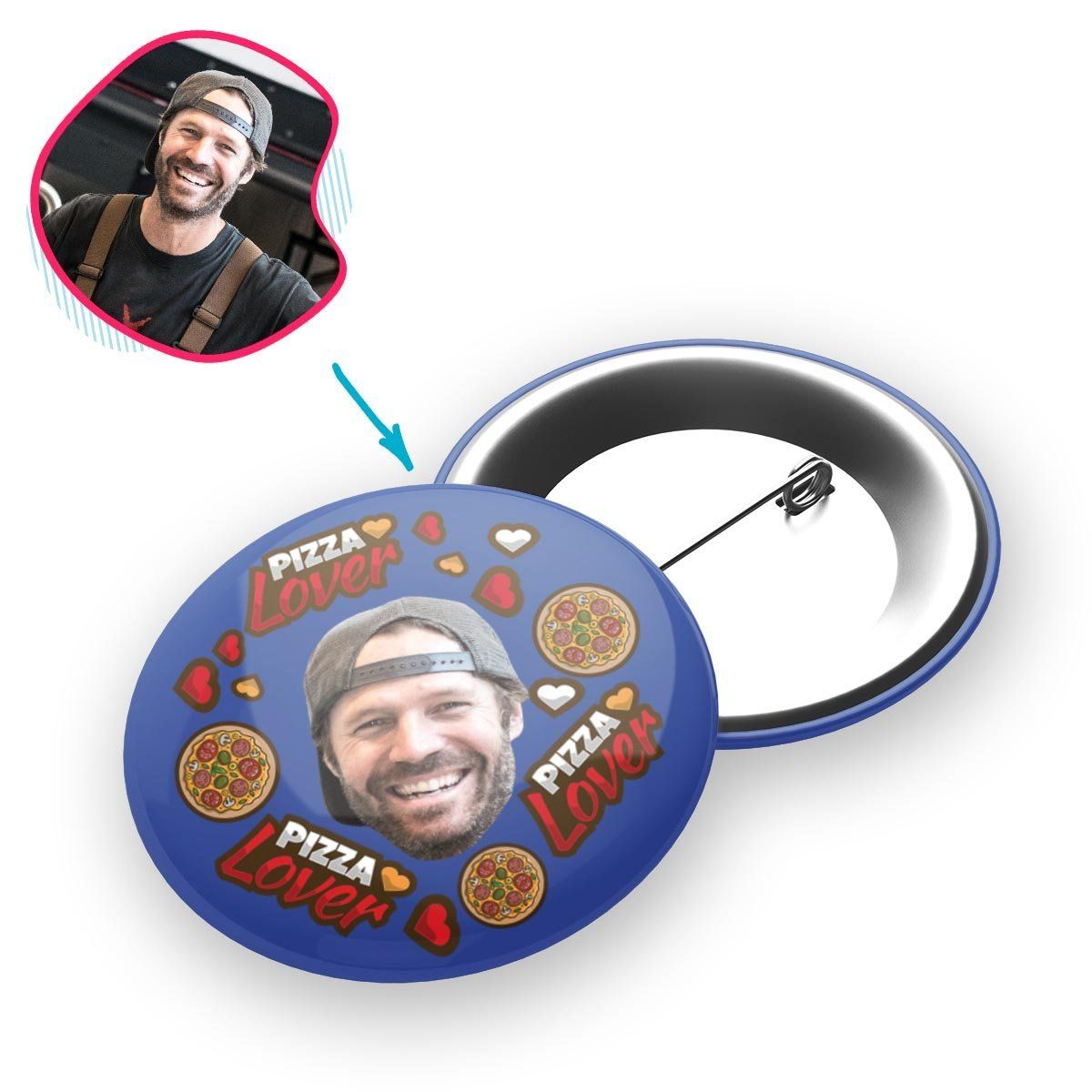 darkblue Pizza Lover pin personalized with photo of face printed on it
