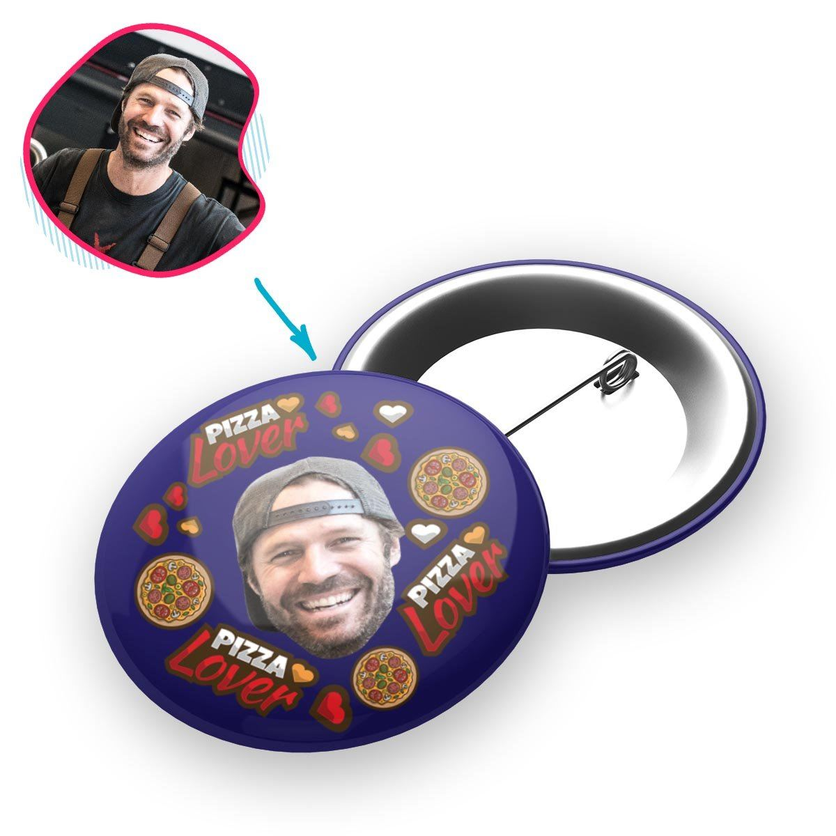 navy Pizza Lover pin personalized with photo of face printed on it