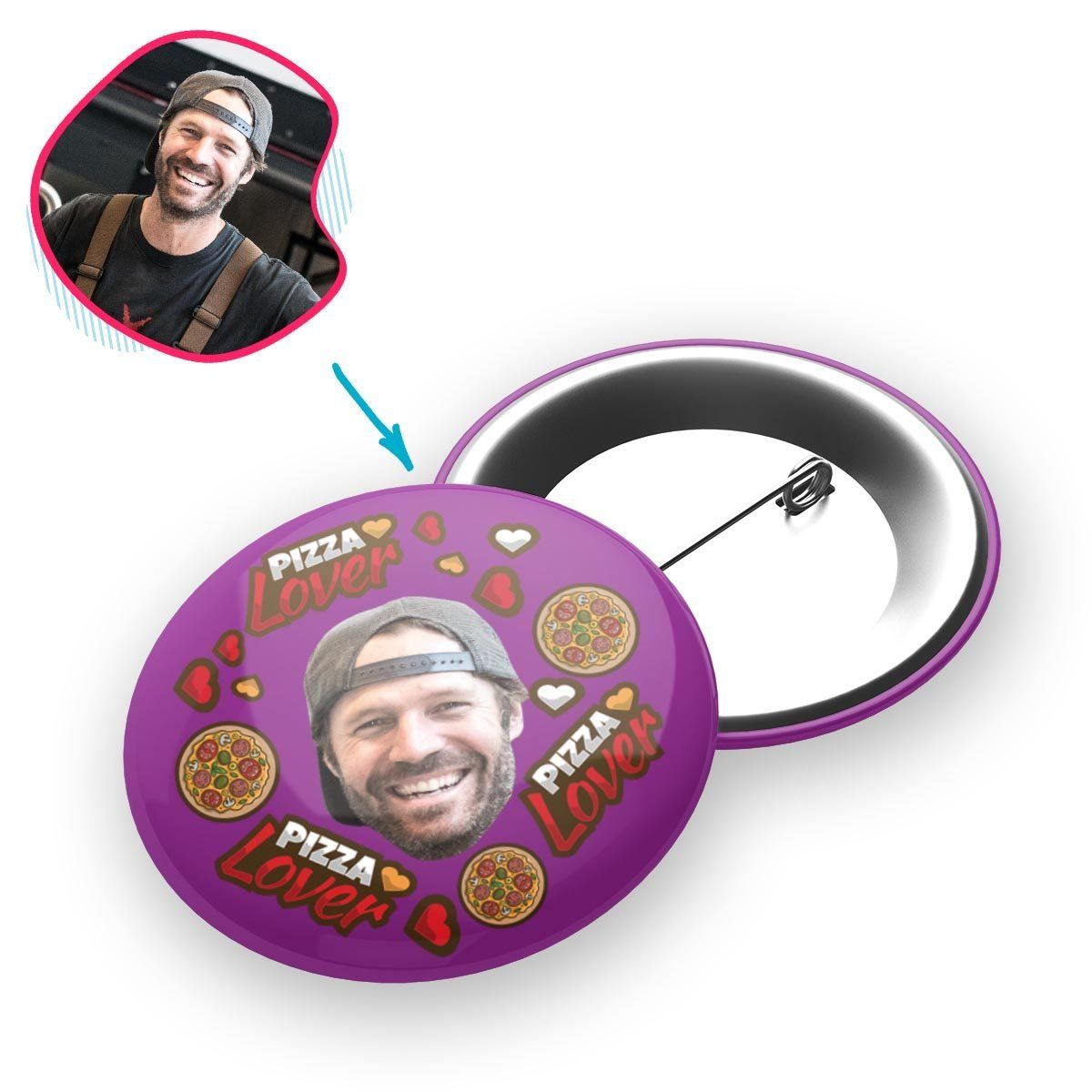 purple Pizza Lover pin personalized with photo of face printed on it