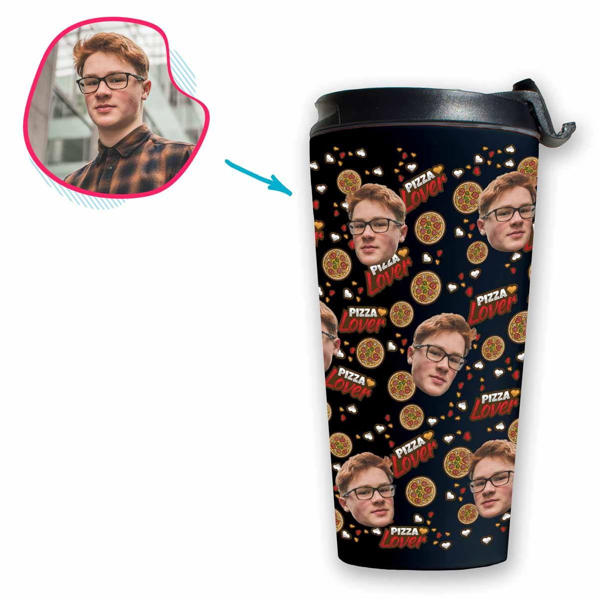 dark Pizza Lover travel mug personalized with photo of face printed on it