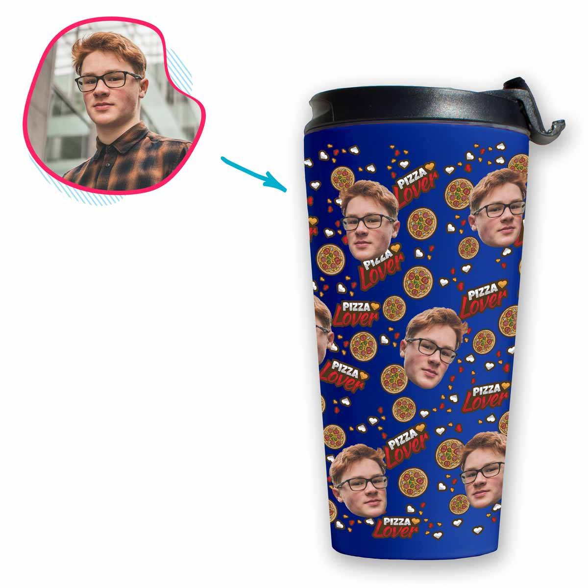darkblue Pizza Lover travel mug personalized with photo of face printed on it
