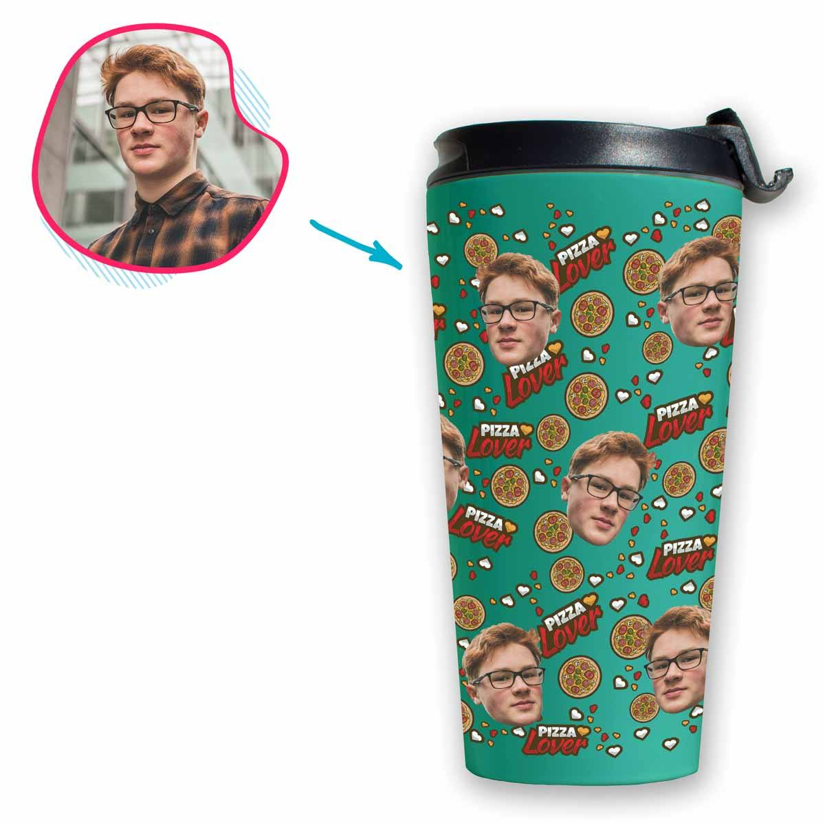 mint Pizza Lover travel mug personalized with photo of face printed on it