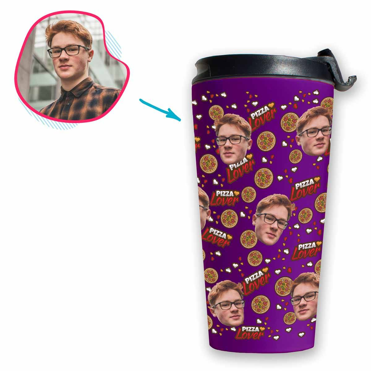 purple Pizza Lover travel mug personalized with photo of face printed on it