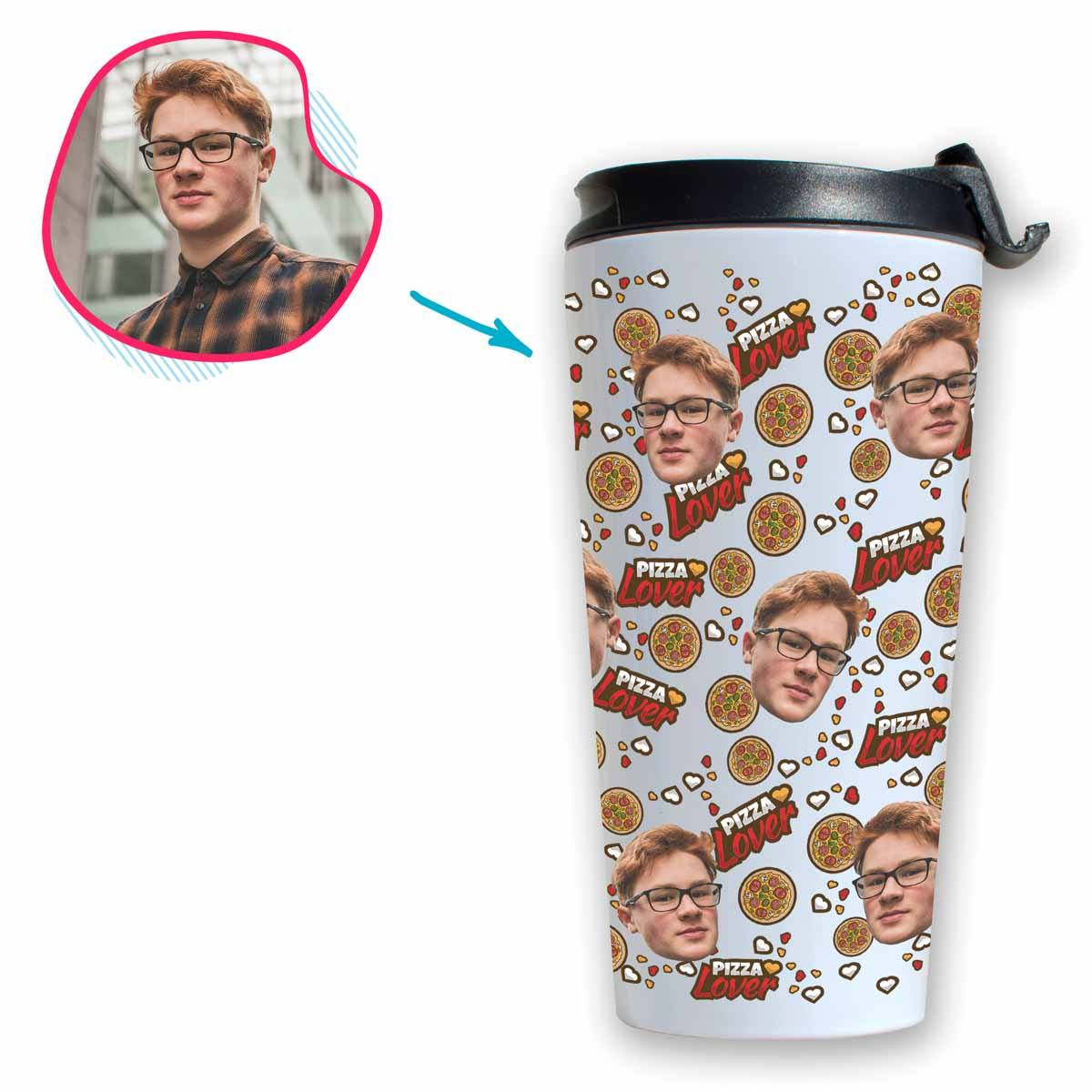 white Pizza Lover travel mug personalized with photo of face printed on it