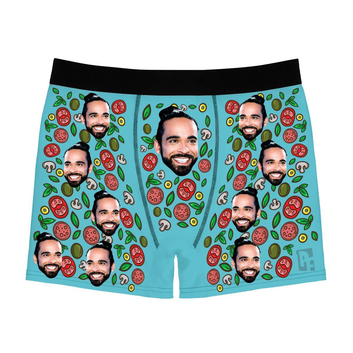 Blue Pizza men's boxer briefs personalized with photo printed on them