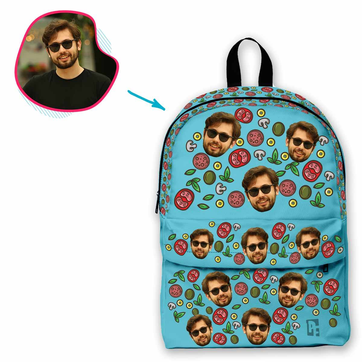 blue Pizza classic backpack personalized with photo of face printed on it