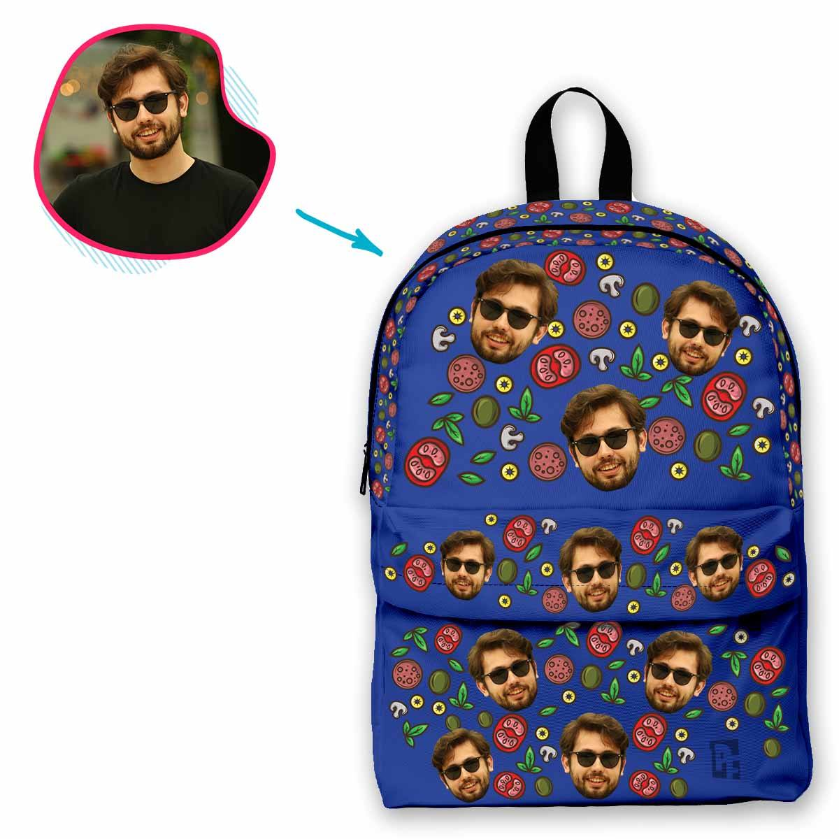darkblue Pizza classic backpack personalized with photo of face printed on it