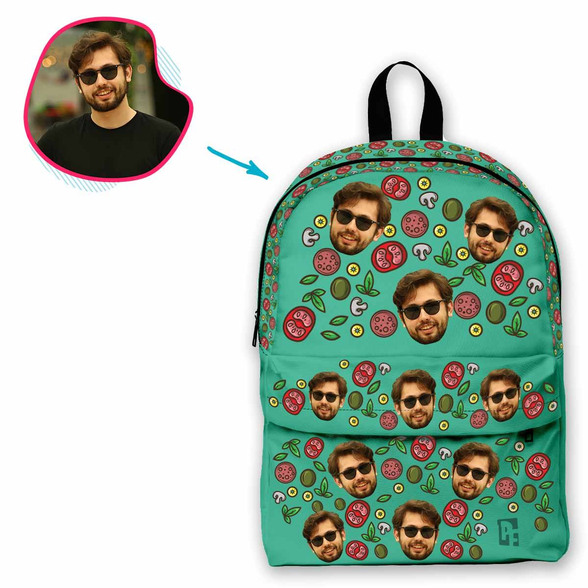 mint Pizza classic backpack personalized with photo of face printed on it
