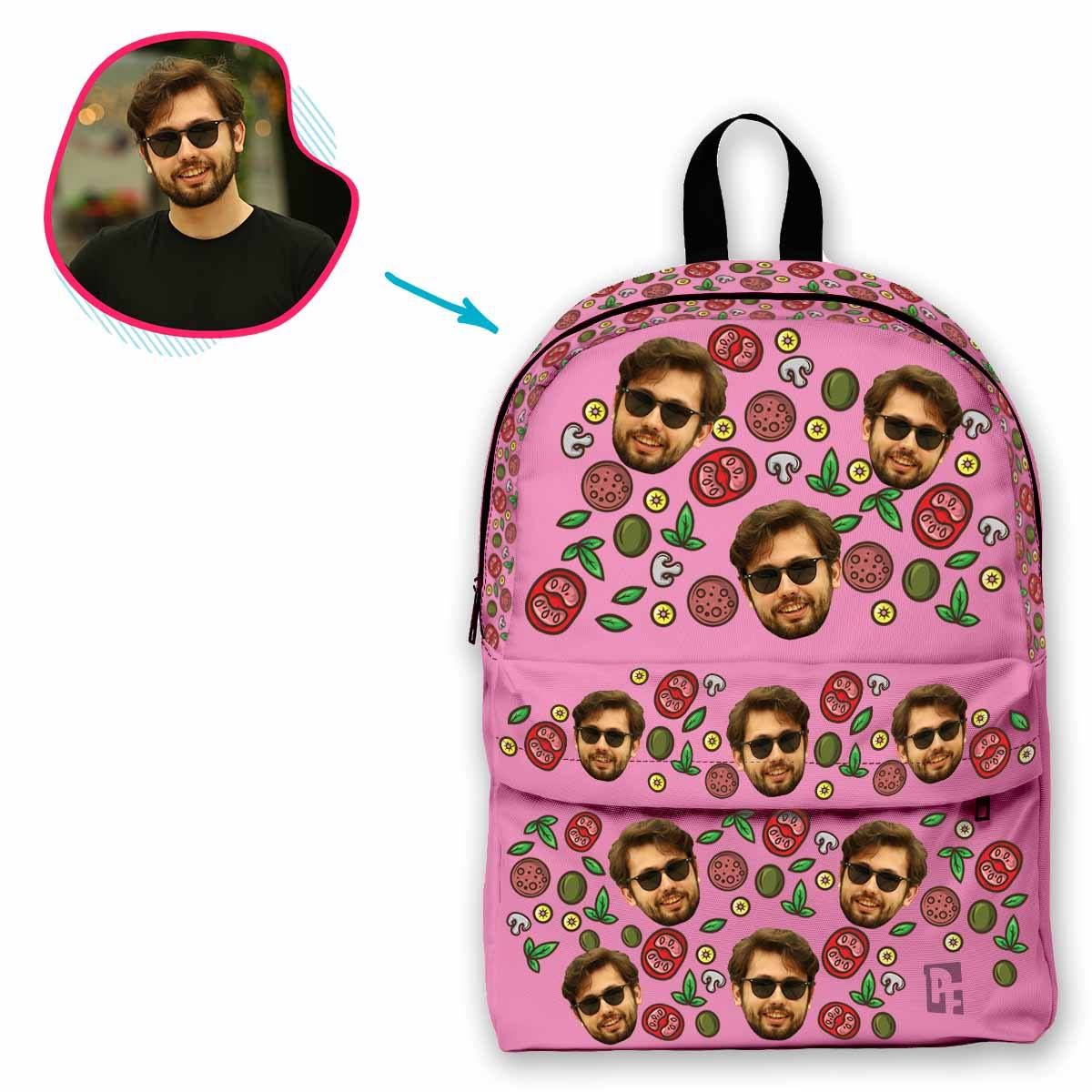 pink Pizza classic backpack personalized with photo of face printed on it