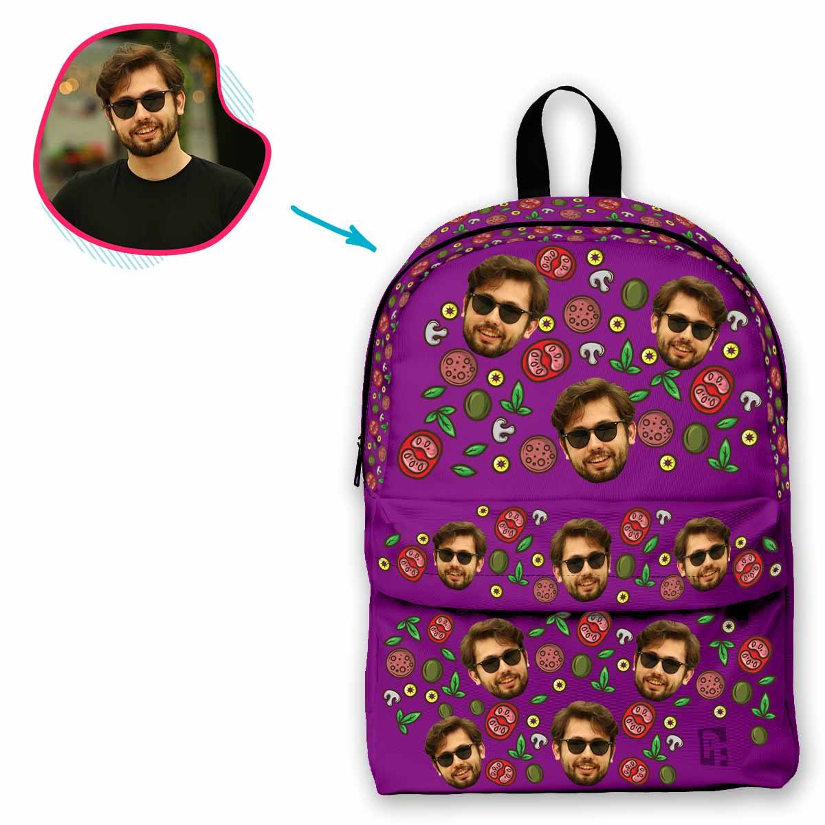 purple Pizza classic backpack personalized with photo of face printed on it