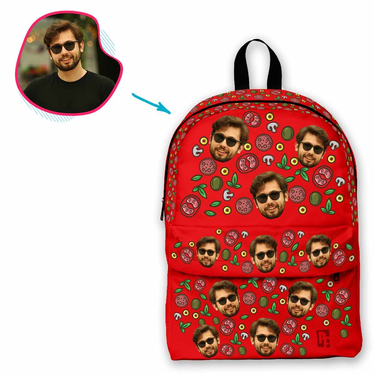 red Pizza classic backpack personalized with photo of face printed on it
