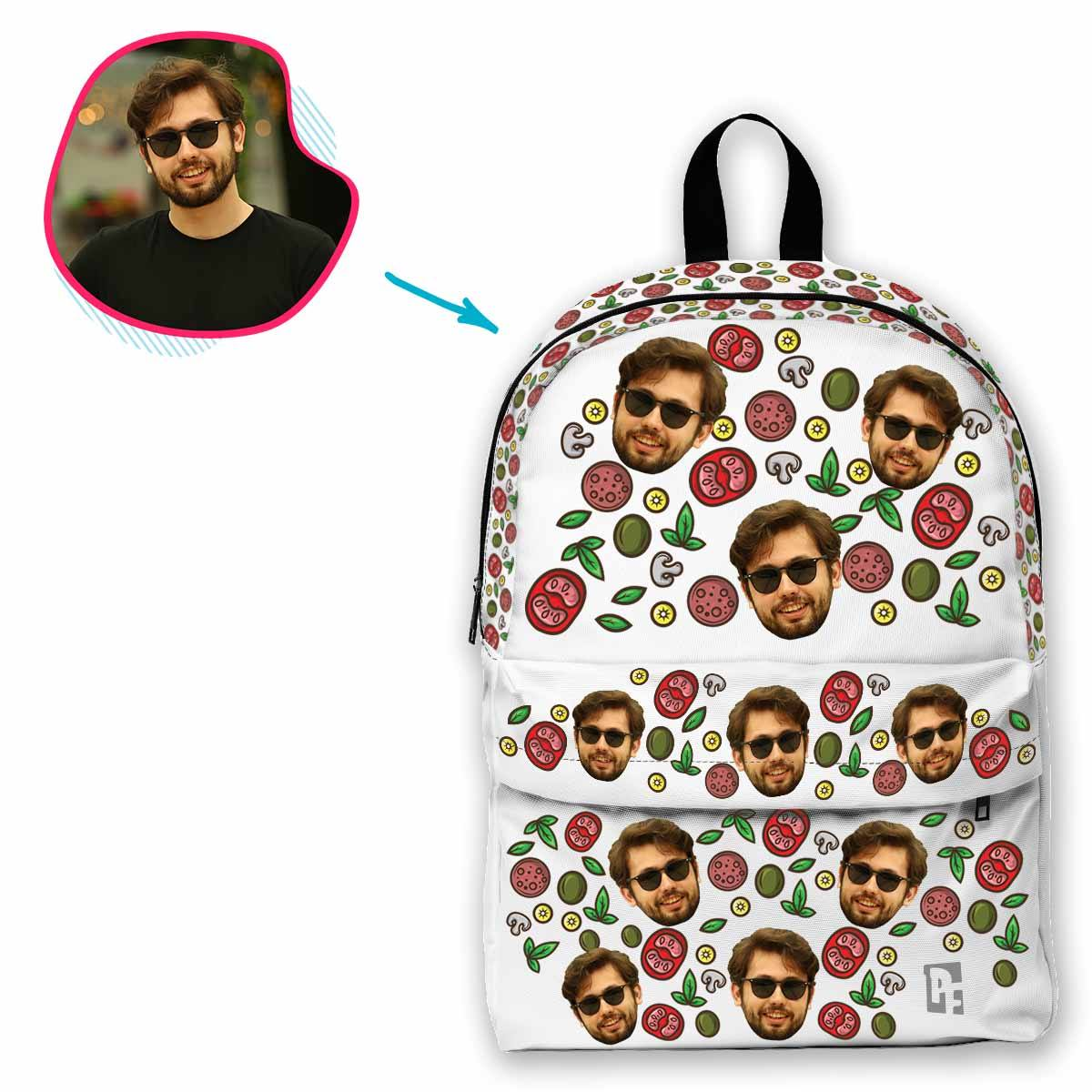 white Pizza classic backpack personalized with photo of face printed on it
