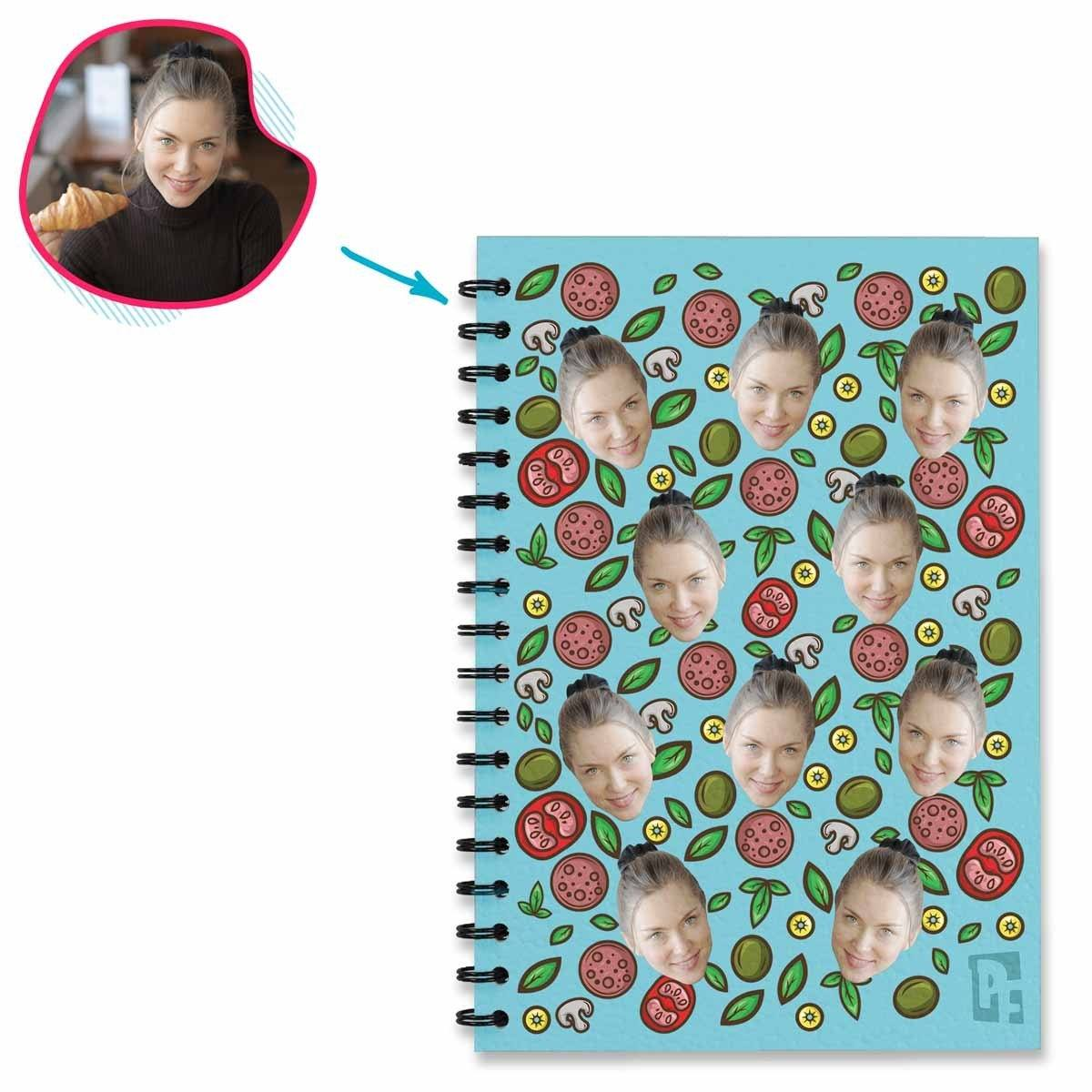 blue Pizza Notebook personalized with photo of face printed on them