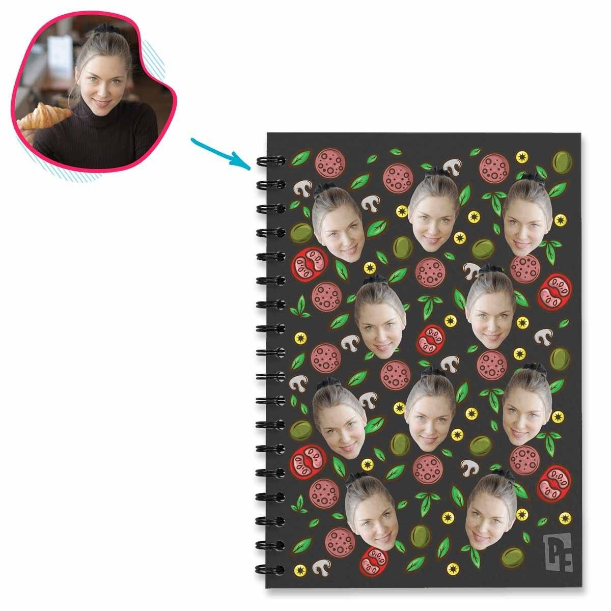dark Pizza Notebook personalized with photo of face printed on them