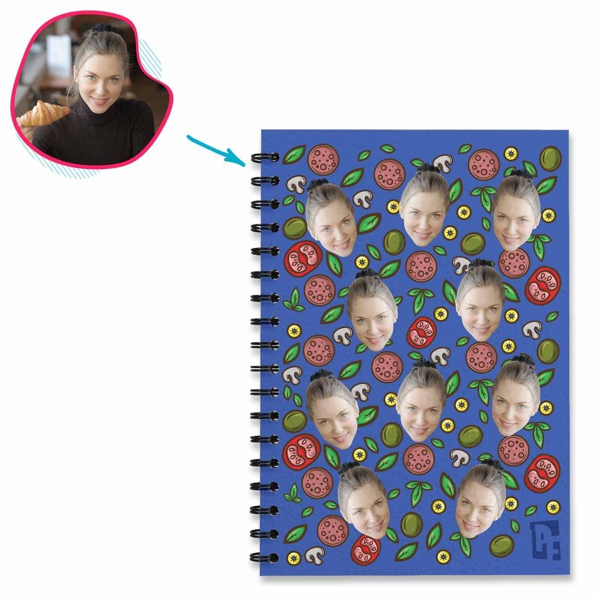 darkblue Pizza Notebook personalized with photo of face printed on them