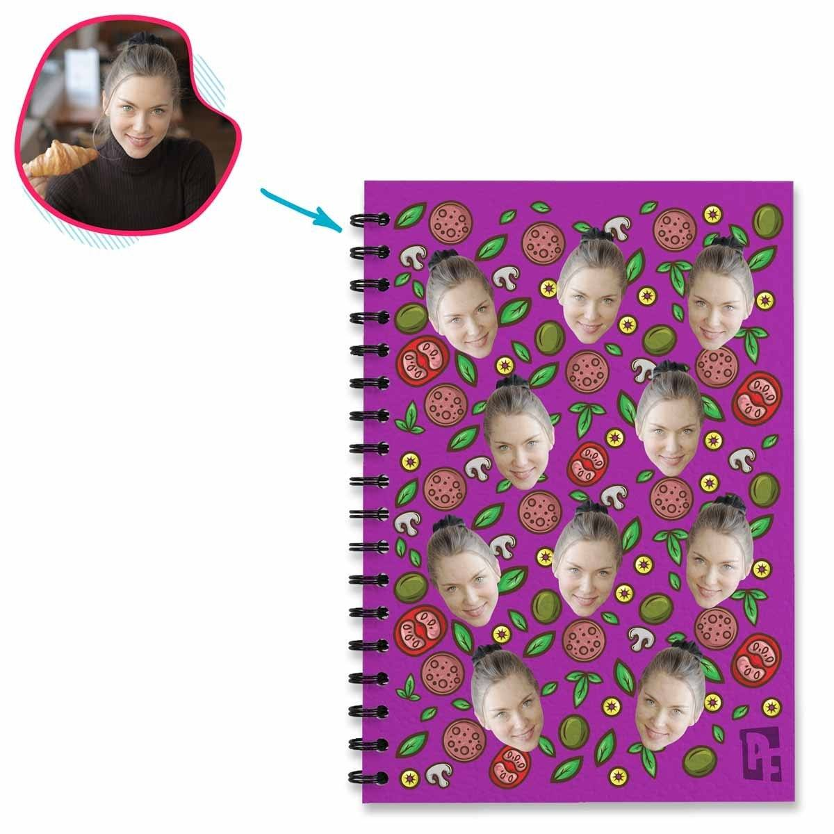 purple Pizza Notebook personalized with photo of face printed on them