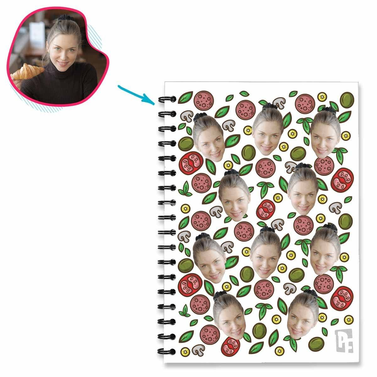 white Pizza Notebook personalized with photo of face printed on them