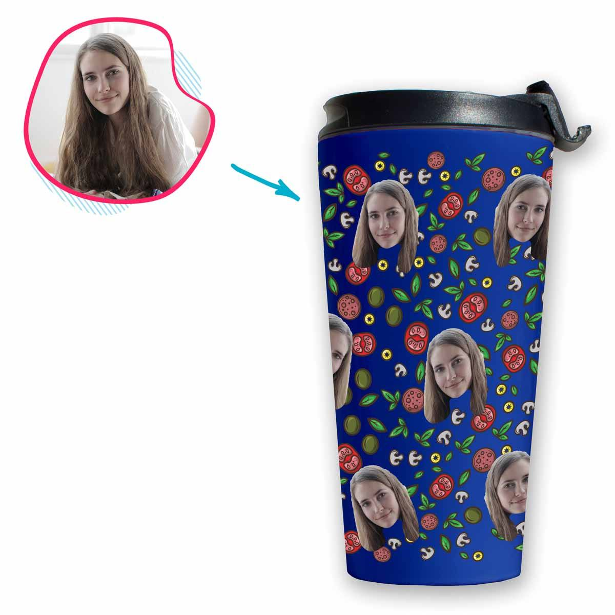 darkblue Pizza travel mug personalized with photo of face printed on it