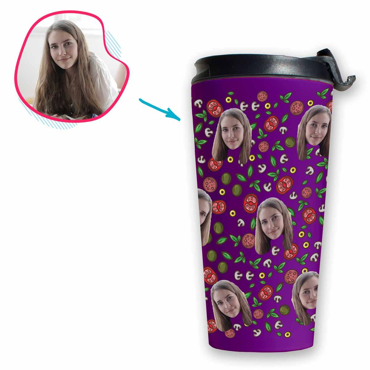 purple Pizza travel mug personalized with photo of face printed on it