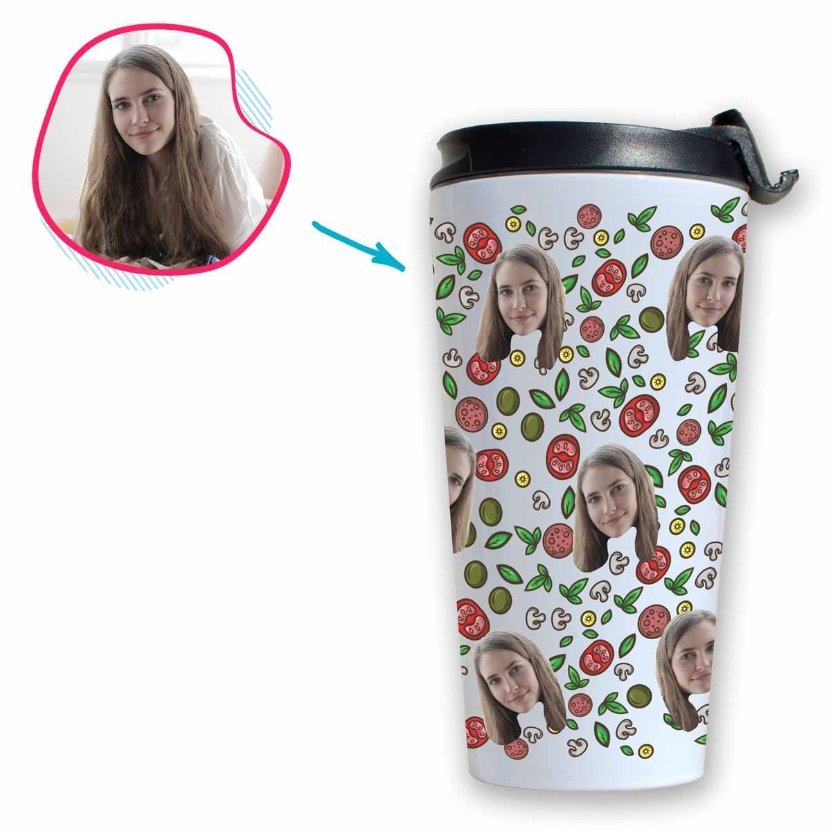 white Pizza travel mug personalized with photo of face printed on it