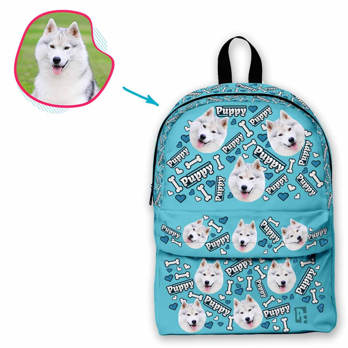 blue Puppy classic backpack personalized with photo of face printed on it