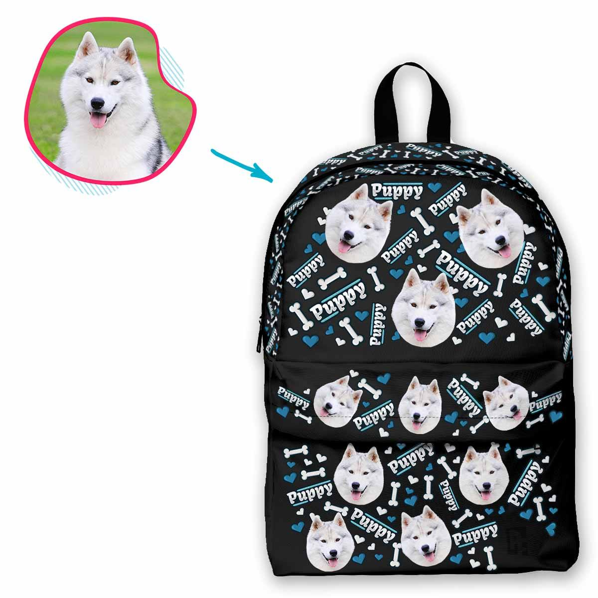 dark Puppy classic backpack personalized with photo of face printed on it