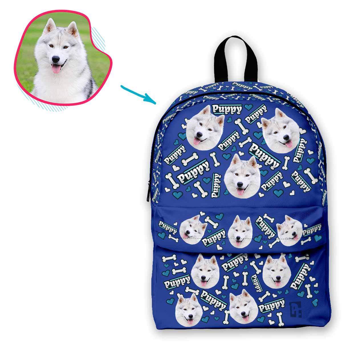darkblue Puppy classic backpack personalized with photo of face printed on it