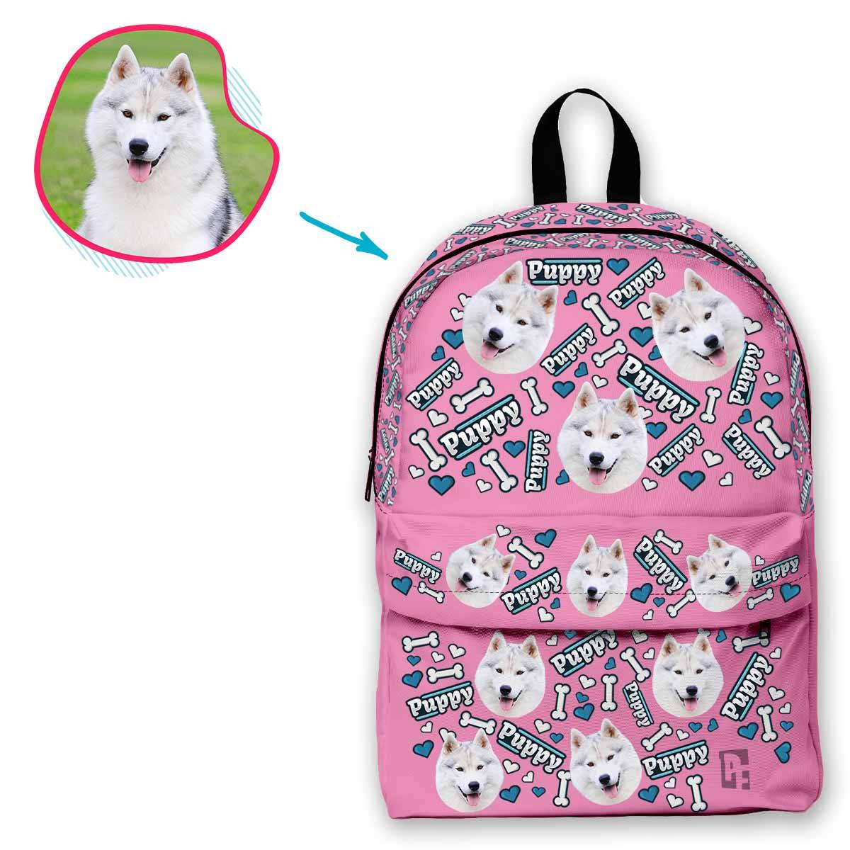 pink Puppy classic backpack personalized with photo of face printed on it
