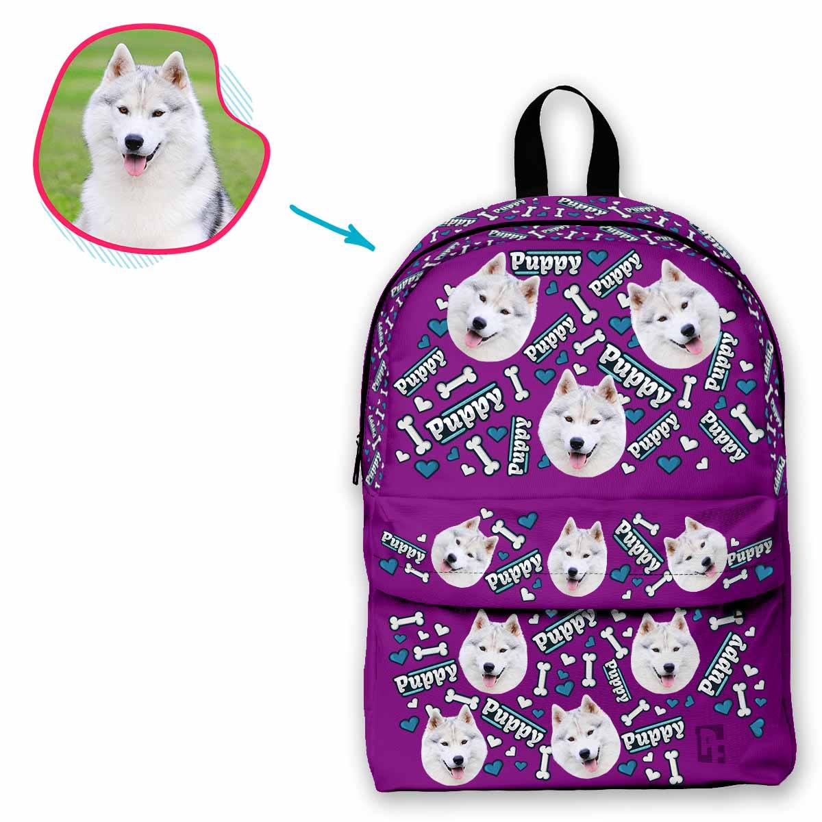 purple Puppy classic backpack personalized with photo of face printed on it