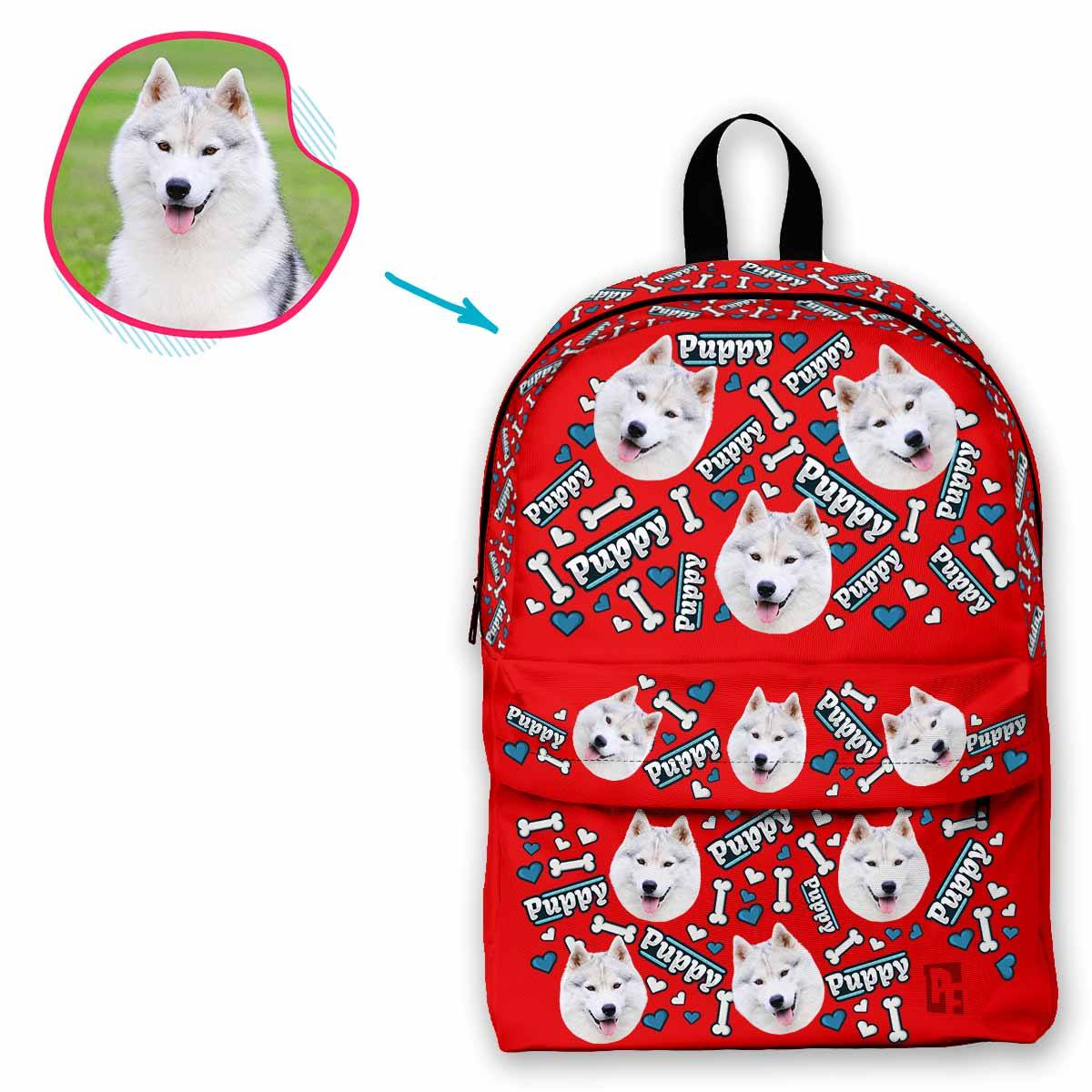 red Puppy classic backpack personalized with photo of face printed on it