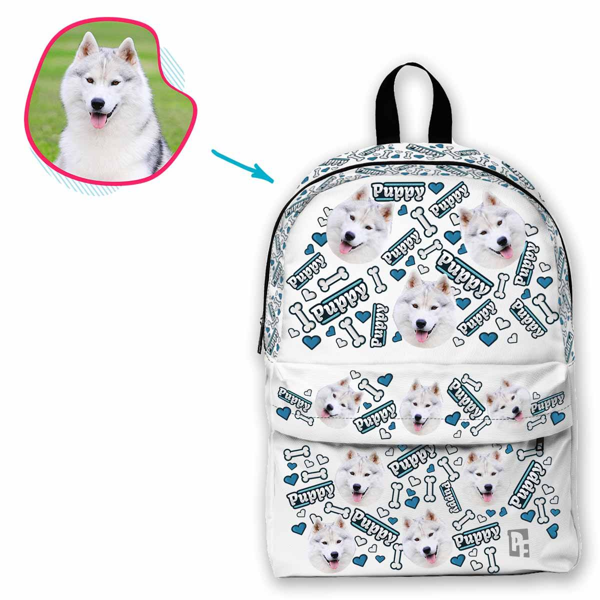 white Puppy classic backpack personalized with photo of face printed on it