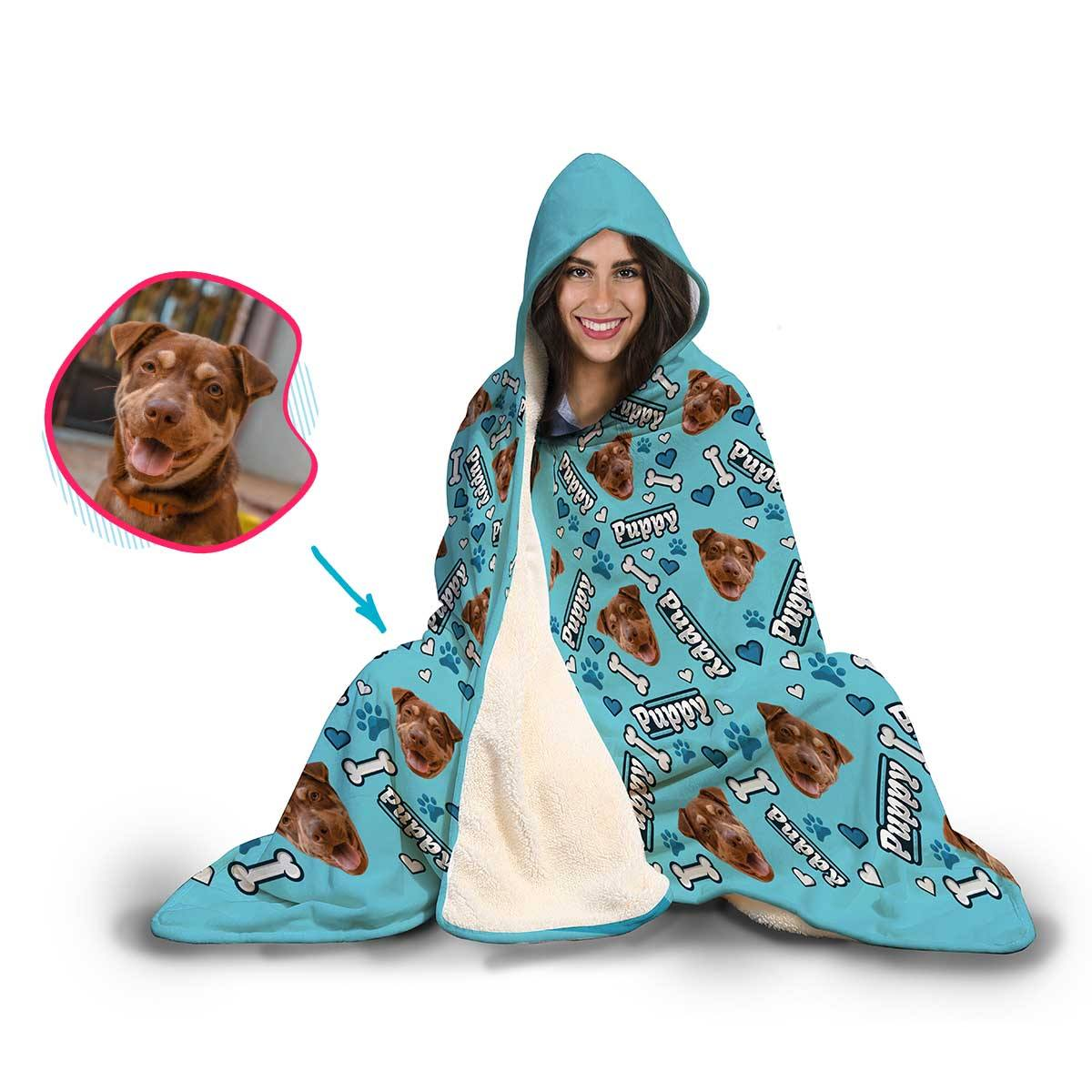 Puppy Personalized Hooded Blanket