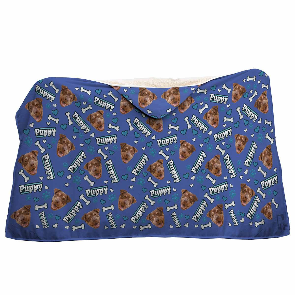 darkblue Puppy hooded blanket personalized with photo of face printed on it
