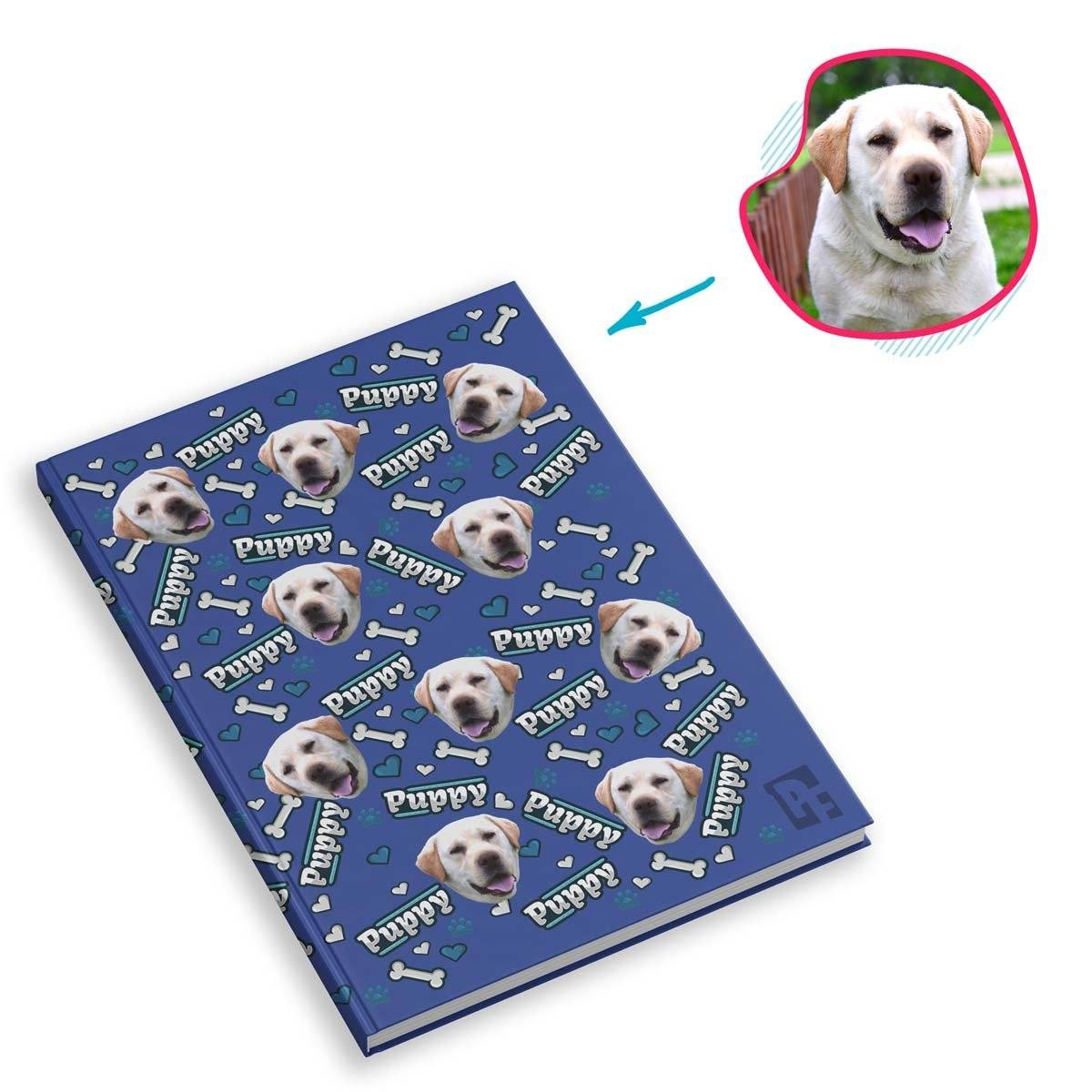 darkblue Puppy Notebook personalized with photo of face printed on them