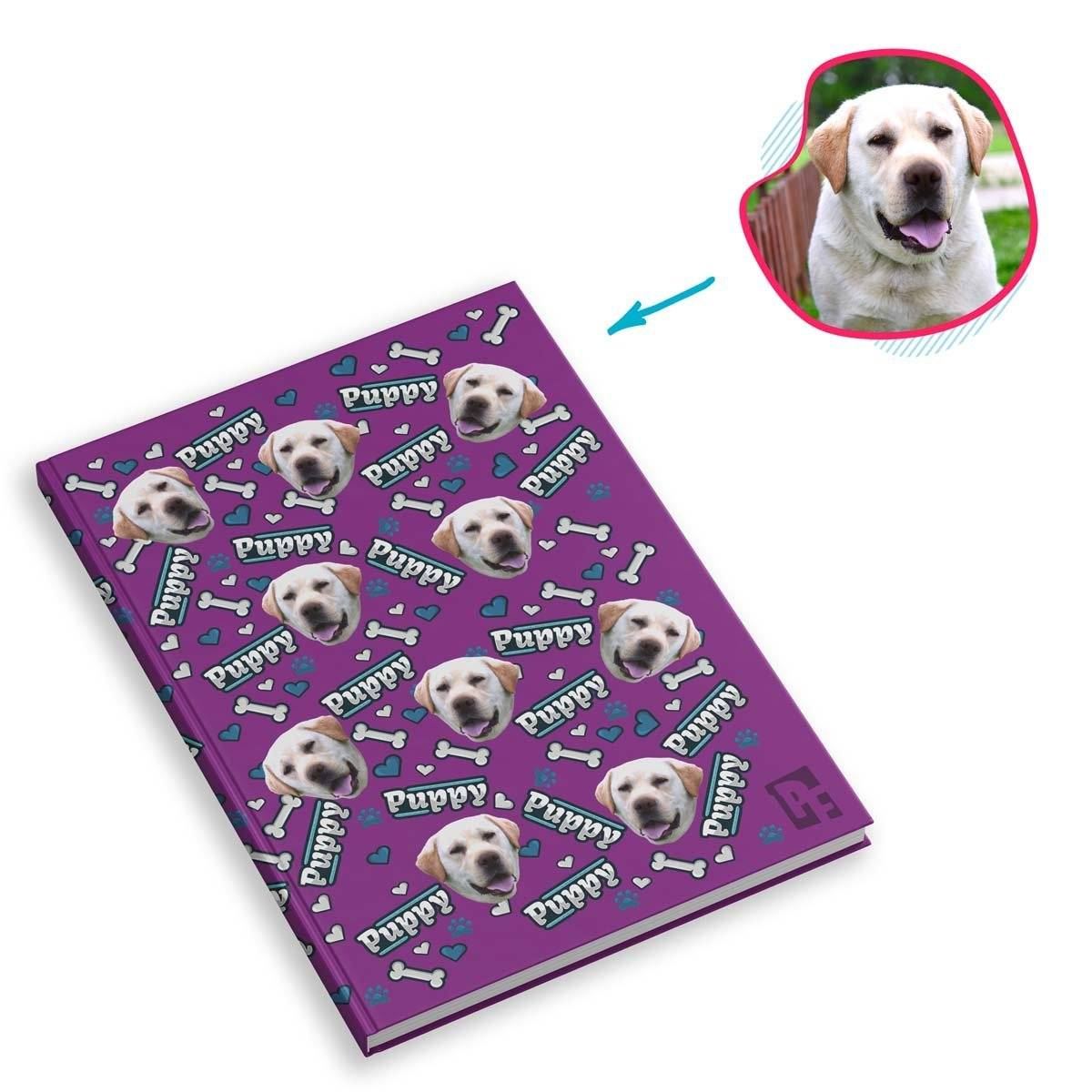 purple Puppy Notebook personalized with photo of face printed on them