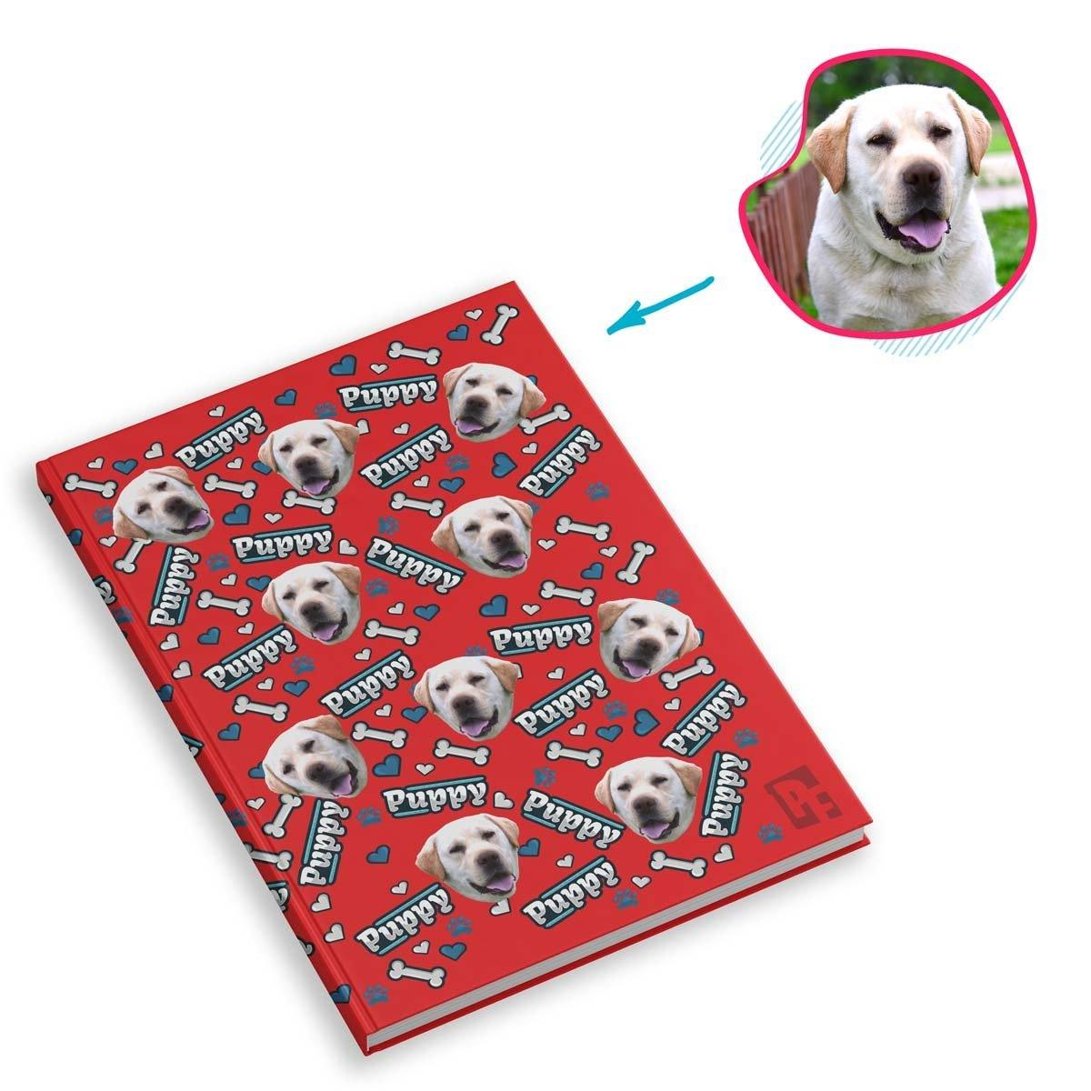 red Puppy Notebook personalized with photo of face printed on them