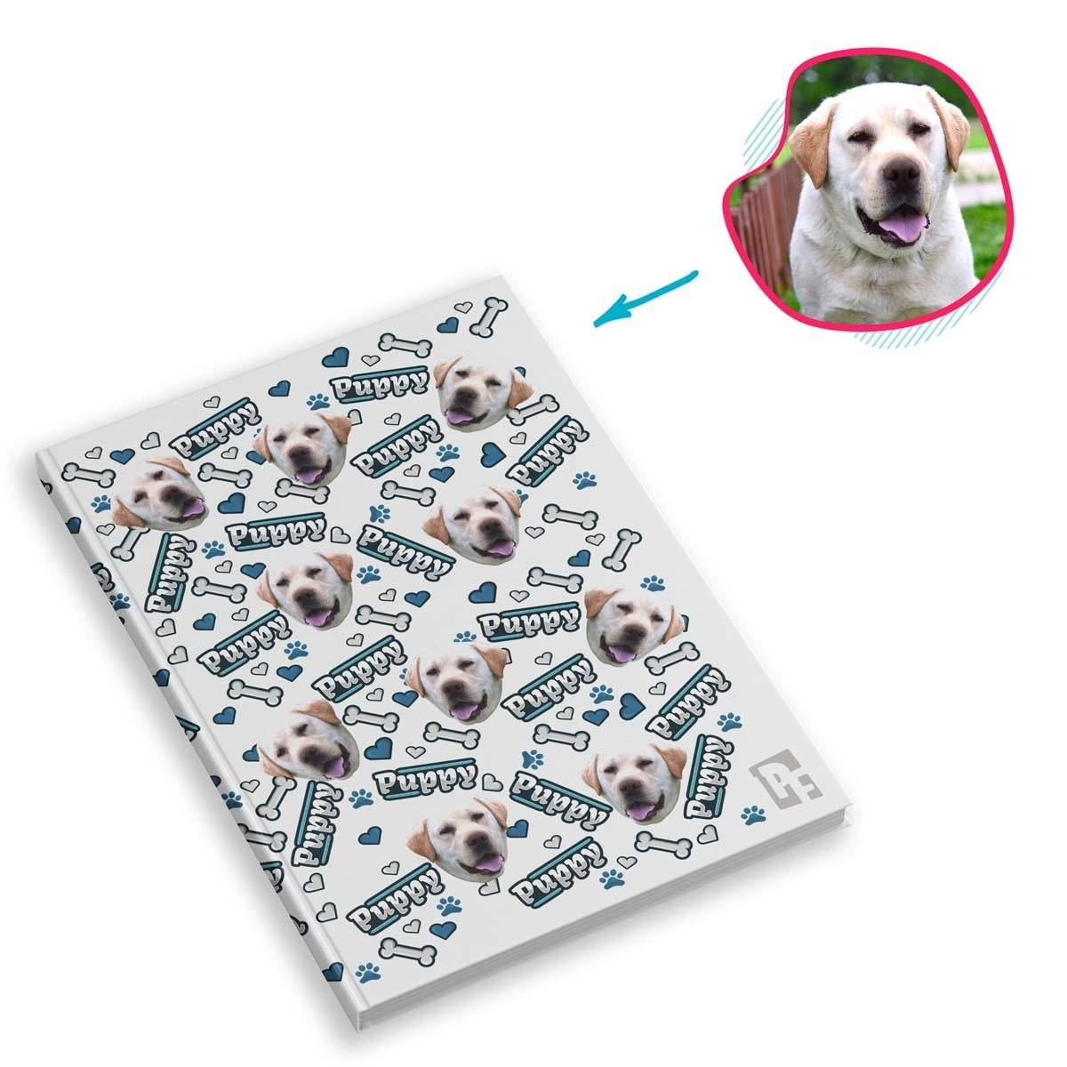 white Puppy Notebook personalized with photo of face printed on them