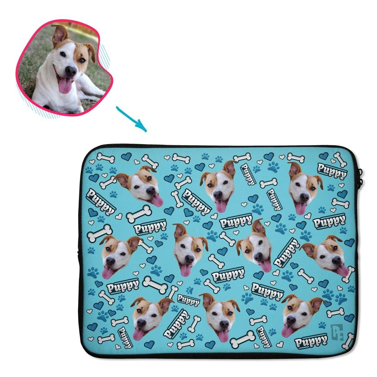 blue Puppy laptop sleeve personalized with photo of face printed on them