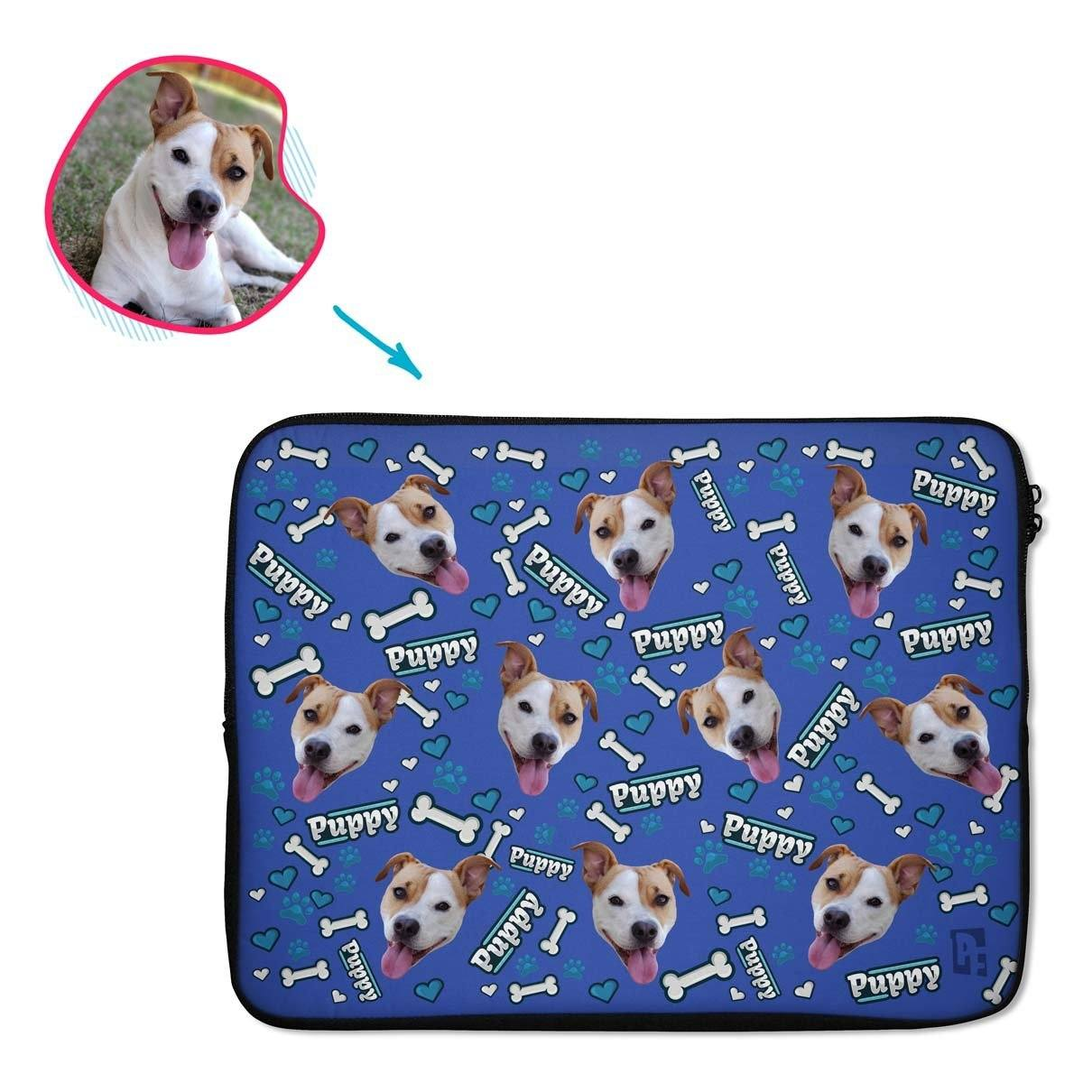 darkblue Puppy laptop sleeve personalized with photo of face printed on them