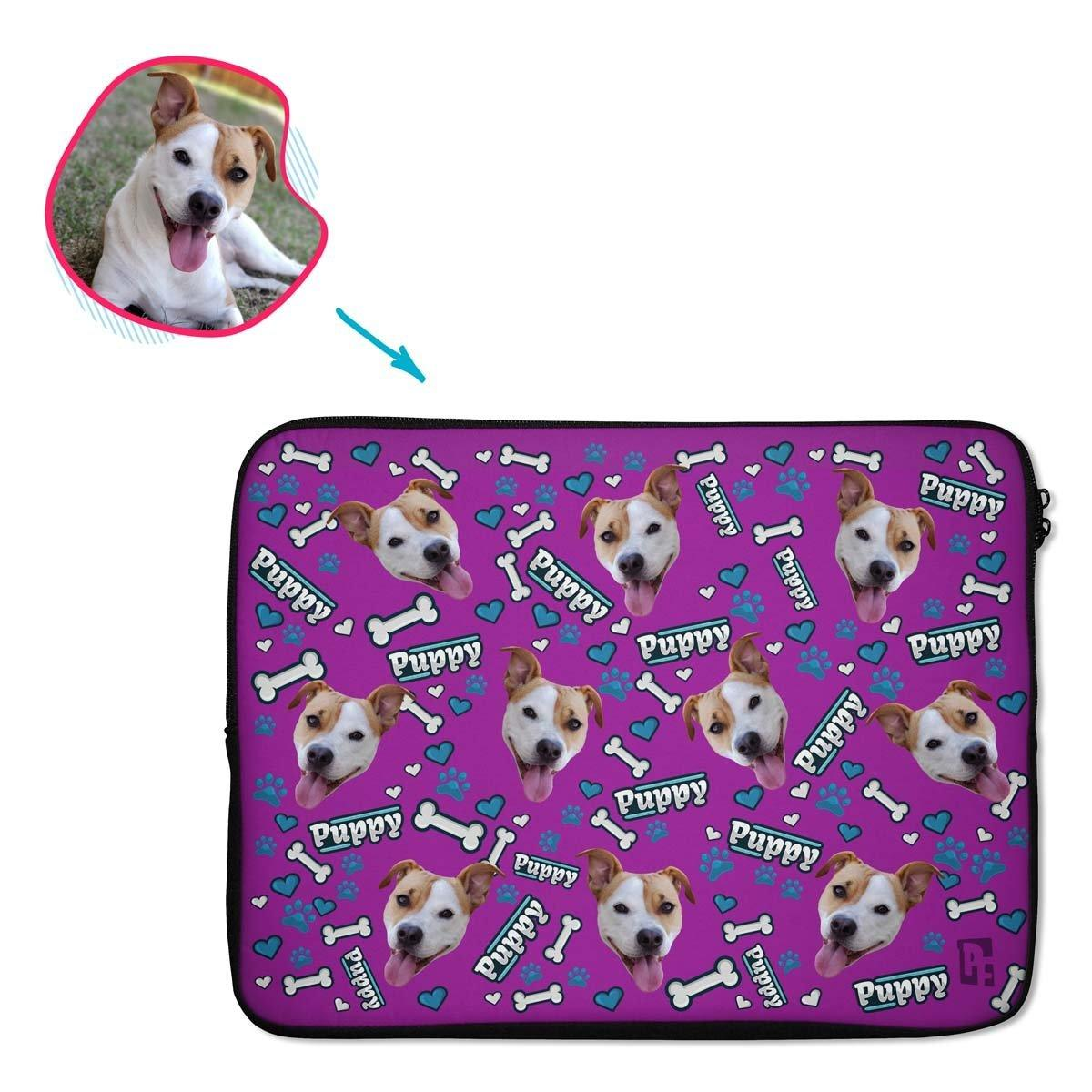 purple Puppy laptop sleeve personalized with photo of face printed on them