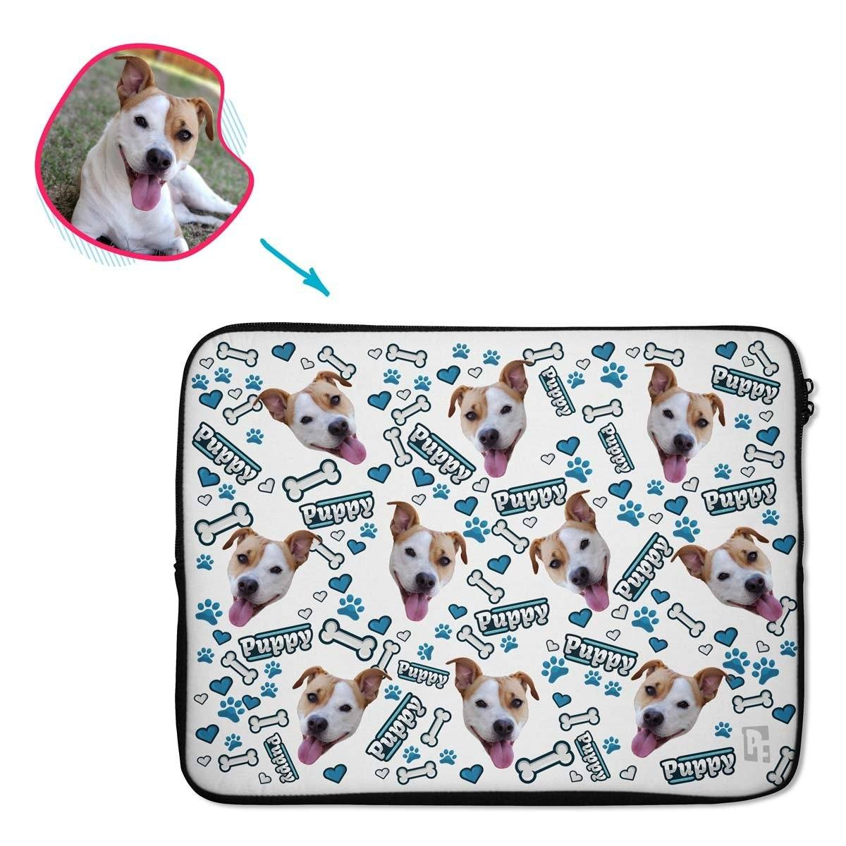 white Puppy laptop sleeve personalized with photo of face printed on them
