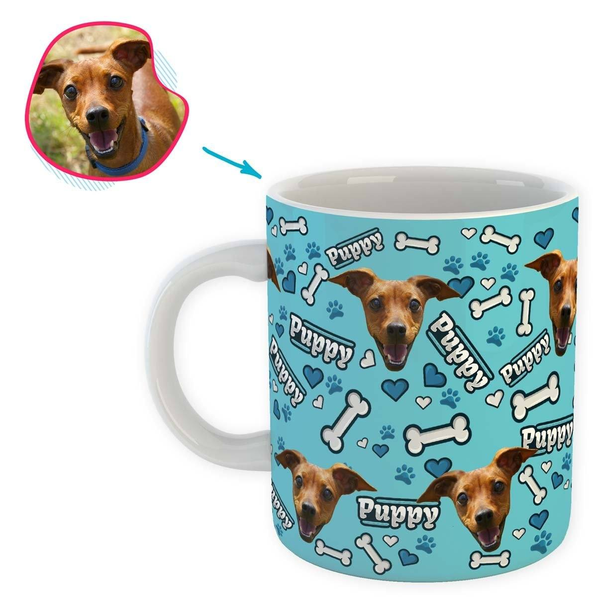 blue Puppy mug personalized with photo of face printed on it