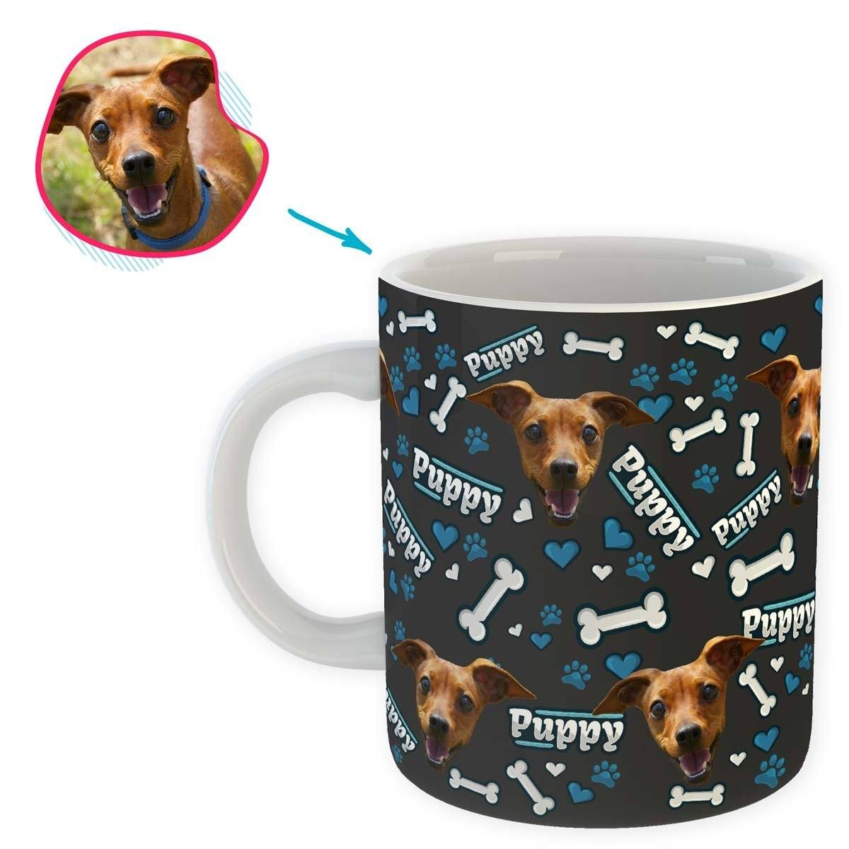 dark Puppy mug personalized with photo of face printed on it