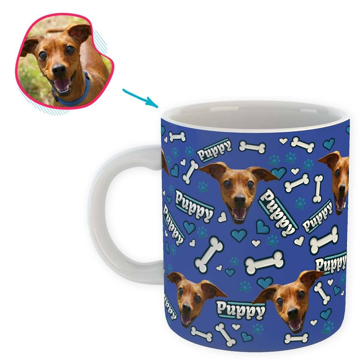 darkblue Puppy mug personalized with photo of face printed on it